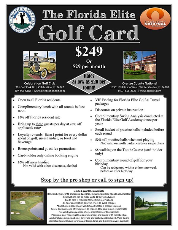 Florida Elite Golf Card flyer